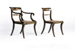 A set of ten simulated coromandel and gilt lacquer and parcel gilt dining chairs