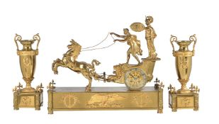 A French Empire style gilt bronze figural mantel clock garniture 'The Chariot of Telemachus'. The cl