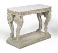 A pair of simulated Coade stone and brass mounted console tables