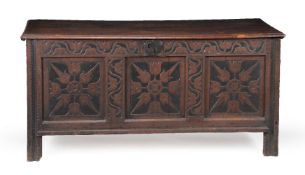 A Commonwealth oak chest or coffer