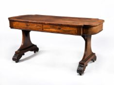 ϒ A Regency rosewood and satinwood crossbanded library table
