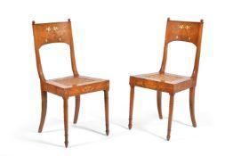 ϒ A set of six Italian walnut bone and marquetry chairs, first half 19th century