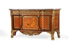 An ormolu mounted specimen marquetry and parquetry commode