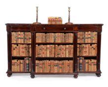 A Regency mahogany breakfront open bookcase