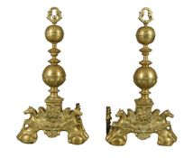 A pair of substantial Dutch or Flemish brass andirons in Baroque taste