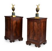 A pair of George III mahogany pedestal cabinets