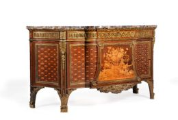 THE BROCKET HALL COMMODES A pair of ormolu mounted marquetry and parquetry commodes by HENRY DASSON