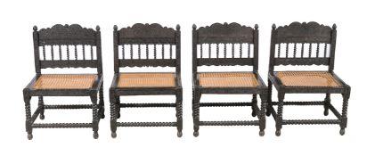 ϒ A set of four Ceylonese ebony chairs