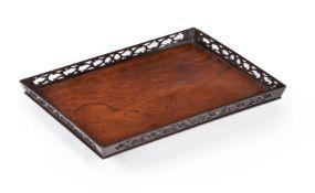 A George III mahogany galleried tray