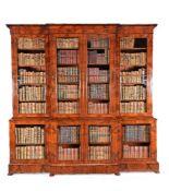 A William IV mahogany breakfront library bookcase