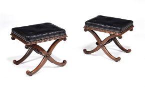 ϒ A pair of Regency rosewood X-frame stools