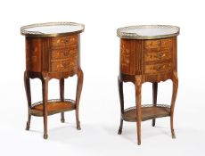 A pair of French walnut and marquetry bedside cabinets, second half 19th century