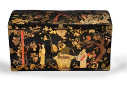 A George II black lacquer and gilt chinoiserie decorated chest