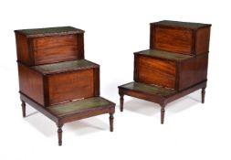 A pair of Regency mahogany steps