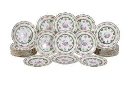 Twenty-five Sevres (outside decorated) porcelain plates