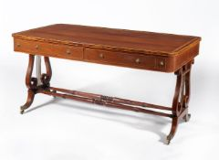 A Regency partridge wood and satinwood crossbanded library table