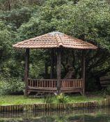 A hardwood garden pavilion