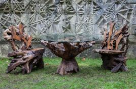 A suite of rootwood garden dining furniture