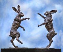 John Cox (British, 1952-2014), Boxing Hares