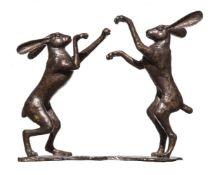 David Meredith (British, b. 1973), Boxing Hares