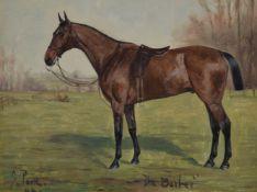 George Paice (British 1854-1925)The Barber, a saddled bayhunter