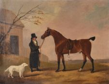 Edwin Cooper (British 1785-1833)Horse and groom with dog in a landscape
