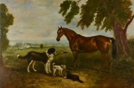 Dutch School (19th century)Study of a horse and dogs