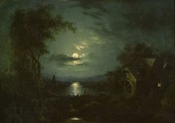 Circle of Sebastian Pether Moonlight over mill
