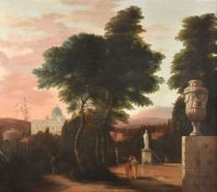 Hendrick Danckerts (Dutch 1625-1680)Classical Italianate landscape with figures