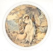 Francis Wheatley (British 1747-1801)A shepherdess with sheepWatercolour and pen