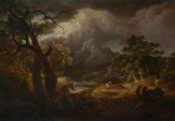 Thomas Sautelle Roberts (Irish c.1760-1826)A stormy river landscape, with herdsmen