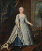 Provincial School (early 18th century)Portrait of a young girl with pet dog and birds