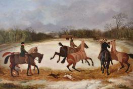 David Dalby of York (British 1780-1849)Grooms Exercising Horses in Winter
