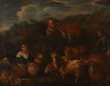 Circle of Francesco LondonioRustics with their flock, a pair