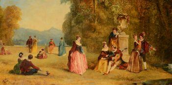 In the manner of Jean-Antoine Watteau A pair of fête galante panels