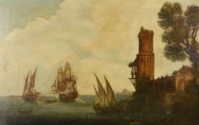 Continental School (18th century)British ships at a port