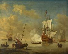 Circle of Peter Monamy (British 1689-1749)Royal Man o'war ship fire a gun salute