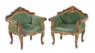 A pair of Venetian green painted and polychrome decorated armchairs in the 18th century style