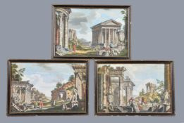 A set of six hand coloured engravings of classical views of Rome