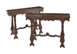 A pair of fruitwood forms, 18th century and later