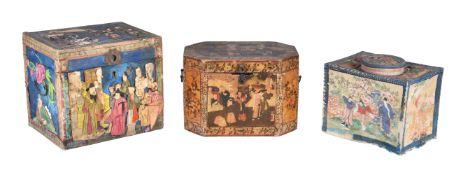 A Chinese Export painted wood tea caddy