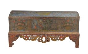 A painted pine coffer on stand, Tyrolean, late 18th century
