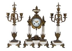 A marble and gilt metal mounted clock garniture, late 19th century