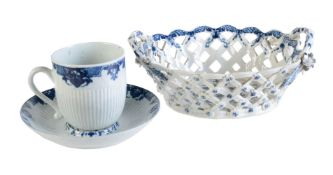 A Worcester blue and white reeded trembleuse coffee cup and saucer in the St. Cloud manner