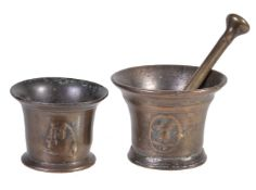 An English bronze mortar decorated with Tudor roses