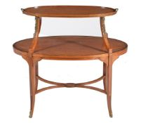 A Sheraton Revival satinwood, inlaid, and gilt metal mounted oval etagere