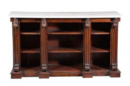 ϒ A rosewood and marble topped open bookcase