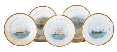 A set of fourteen Minton plates