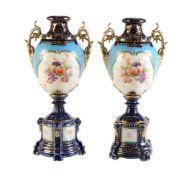 A pair of Rudolstadt Thuringia porcelain vases (New York & Rudolstadt Pottery Co.)