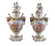 A pair of Potschappel Dresden (Carl Thieme/Sächsische Porzellan-Manufaktur) flower-encrusted two-han
